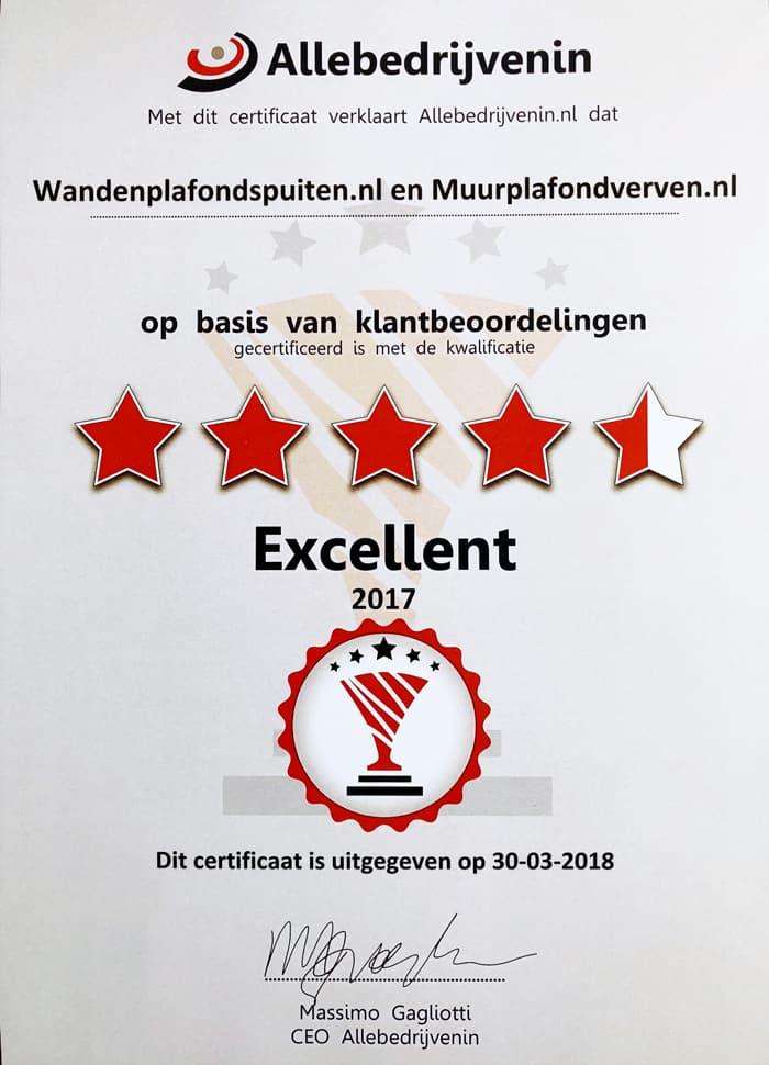 certificaat klanttevredenheid voor Wandenplafondspuiten.nl