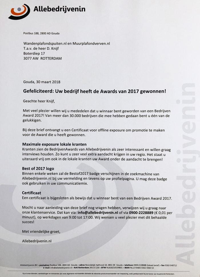 oorkonde klanttevredenheid voor Wandenplafondspuiten.nl