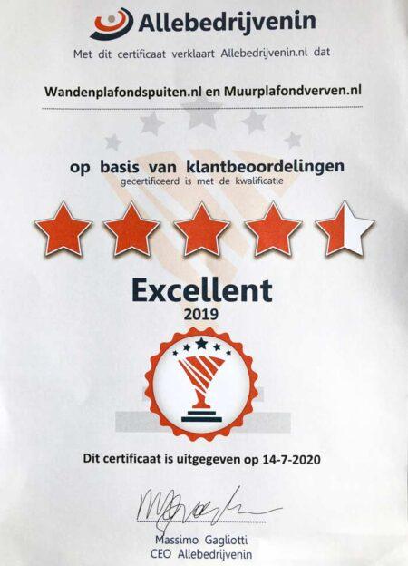certificaat WandenPlafondSpuiten.nl 2019