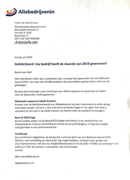 oorkonde WandenPlafondSpuiten.nl 2019